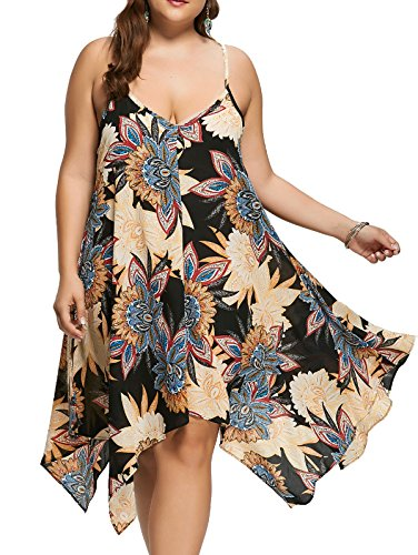 ZAFUL Women Plus Size Chiffon Slip Dress Floral Cami Sundress Handkerchief Asymmetric Tunic Dress,Gray 2XL ()