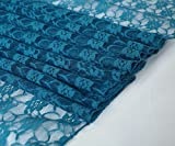 mds Pack of 10 Wedding 12 x 108 inch Lace Table Runner for Wedding Banquet Decor Table Lace Runner- Dark Teal