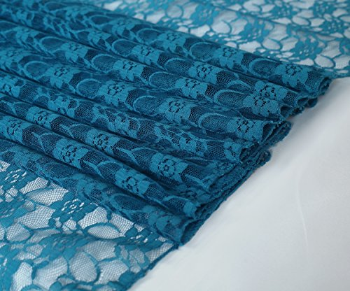 mds Pack of 10 Wedding 12 x 108 inch Lace Table Runner for Wedding Banquet Decor Table Lace Runner- Dark Teal by mds