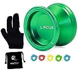 MAGICYOYO Responsive Yoyo, V6 Locus Aluminum YoYo Kids Beginner Learner Yoyo Bag, Yoyo Glove,5 Yoyo Strings (Green)