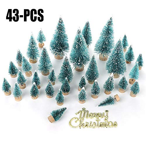 ADSRO 43Pcs Mini Sisal Snow Frost Trees Artificial Christmas Trees on Wooden Bases, Christmas Komatsu Party Decoration DIY Craft Room Decoration Home Desktop Decoration