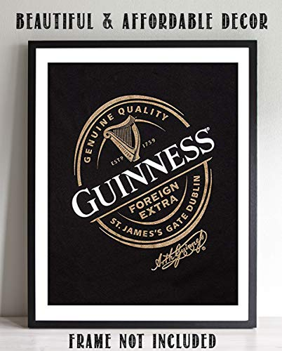 "Guinness Beer-Signature Poster Print-""St. James Gate-Dublin, Ireland""- 8 x 10"" Wall Decor Print- Ready To Frame- Modern Sign Replica Print. Pub Decor for Man Cave-Bar-Game Room-Garage-Dorm."