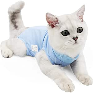 Cat Professional Recovery Suit for Abdominal Wounds or Skin Diseases, E-Collar Alternative for Cats and Dogs, After Surgery Wear, Home Clothing (L, Blue)