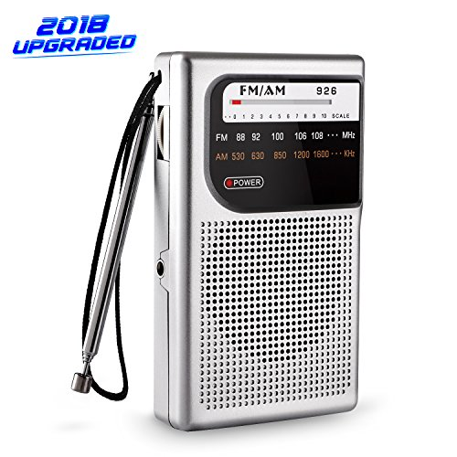 AM FM portable radio, AM FM radio portable with Superior Reception and Clear Sound, battery operated pocket radio with digital alarm clock, 3.5mm Headphone Jack (white)