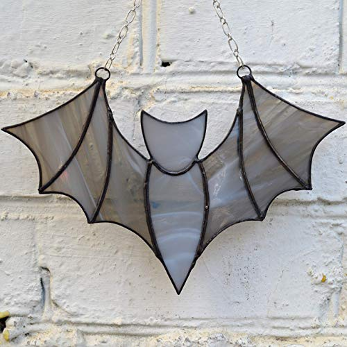 Stained Glass Bat Suncatcher for Window or Wall Hanging. Gothic Home Decor. Witchy Garden Ornament ()