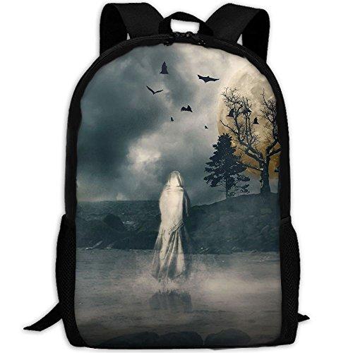Markui Adult Travel Hiking Laptop Backpack Ghost Moon Night School Multipurpose Durable Daypacks Zipper Bags -
