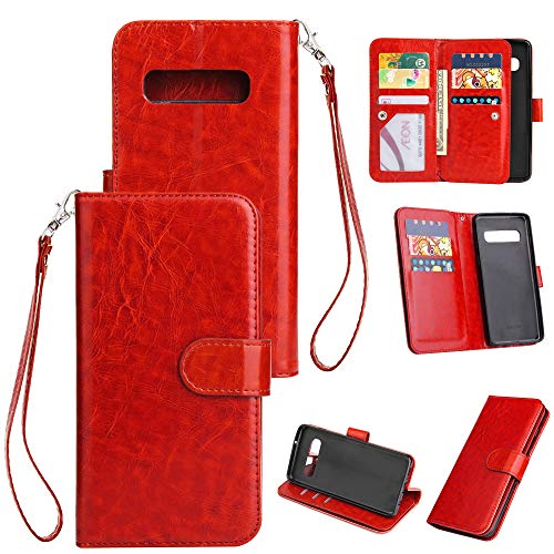 Galaxy S10 Case, Samsung S10 Wallet Case, [9 Card Slots] Leather Wallet Flip Folio Protective Case Cover with Card Holder and Stand for Samsung Galaxy S10 6.1 inch 2019 (Red)