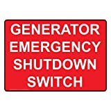 ComplianceSigns Aluminum Generator Emergency Shutdown Switch Sign, 14 x 10 in. with English Text, Red