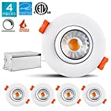 4-Pack 3 Inch LED Gimbal Recessed Light Fixture, Luxrite, 8W, 3000K Soft White, 600 Lumens, Adjustable LED Retrofit Downlight, Dimmable, IC Rated, Energy Star - Perfect for Bathrooms and Kitchens