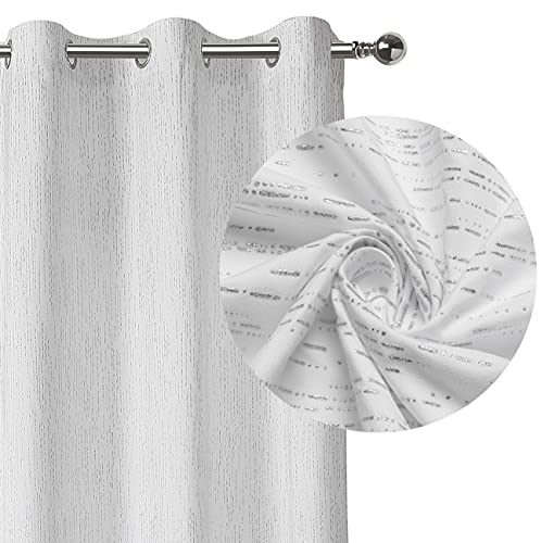 White Striped Semi Sheer 63 Inches Long Window Curtain Drapes, Silver Foil Print Rain Stripe Pattern, Grommet Window Treatment Panels for Bedroom, Living Room, 42