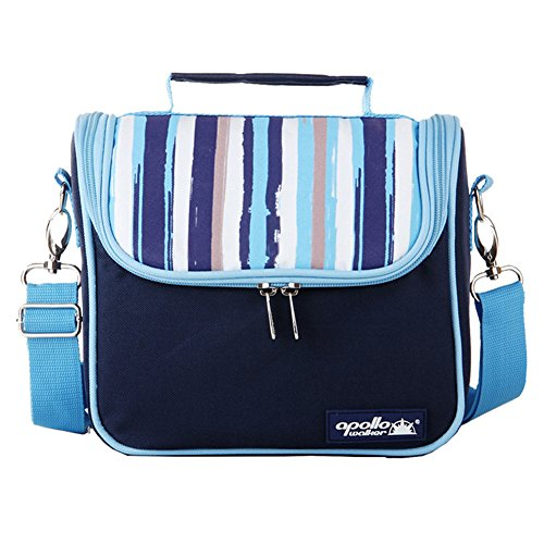 Goldwheat Waterproof Lunch Tote Insulated Lunch Bag Cooler Bag with 2 Detachable Liners and Shoulder Strap, Blue (Water Proof Cooler Bag compare prices)