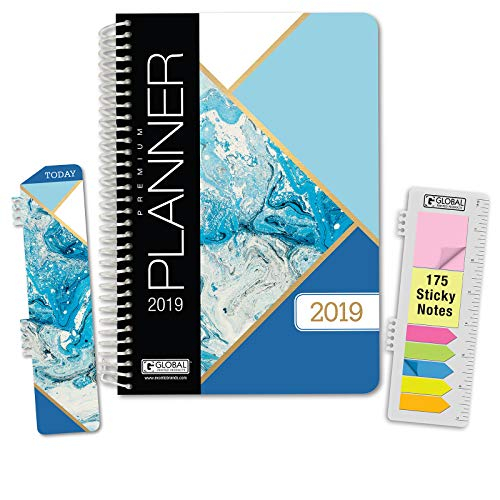 HARDCOVER Calendar Year 2019 Planner: (November 2018 Through December 2019) 5.5x8 Daily Weekly Monthly Planner Yearly Agenda. Bonus Bookmark, Pocket Folder and Sticky Note Set (Blue Marble Triangles)