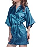 TOUQIANMAO Women's Pure Colour Short Kimono Robes Bathrobe Nightgown with Oblique V-Neck Peacock Blue S-M-L