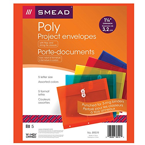 Smead Poly Project Envelope, 1-1/4'' Expansion, String-Tie Closure, Side Load, Letter Size, 5  per Pack (89519) by Smead (Image #4)
