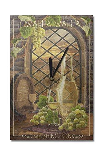 Lantern Press Walla Walla, Washington - Chardonnay (10x15 Wood Wall Clock, Decor Ready to Hang)