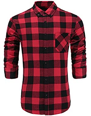 Men's 100% Cotton Slim Fit Long Sleeve Button-Down Plaid Dress Shirt