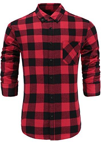 Emiqude Mens 100% Cotton Slim Fit Long Sleeve Button-Down Plaid Dress Shirt