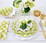 Sophistiplate 41Vtl2 Petalo Paper Dinner Plates, Lime Green Gingham (Pack of 20)