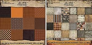 Tim Holtz Idea-Ology Halloween Kraft Cardstock Pad and Halloween Paper Stash Pad - Two Items