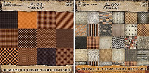 Tim Holtz Idea-Ology 2017 Halloween Kraft Cardstock Pad and Halloween Paper Stash Pad - Two Items -