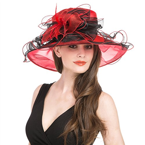 Two Tone Ruffle (Saferin Women's Organza Church Kentucky Derby Cap British Two Tone Tea Party Wedding Hat Ruffles Feather (Black and)