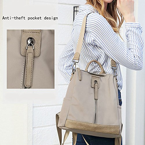 Backpack Shoulder Waterproof 2 Lightweight Khaki Women Bag Purse Wallet School Backpack Rucksack 8qxUwAS