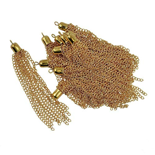 NATFUR 12pcs Iron and Copper Tassel Keychain Cellphone Straps Jewelry Charms Craft 95mm Elegant Pretty for Women Cute Perfect for Girls for Gift Elegant | Color - Gold