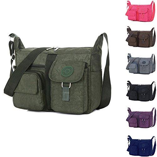 KARRESLY Women's Shoulder Bags Casual Handbag Travel Bag Messenger Cross Body Nylon Bags Purse(Green) ()