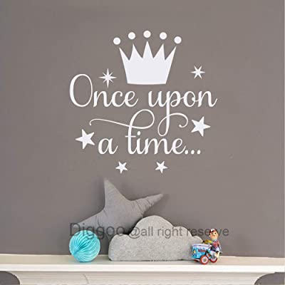 "Diggoo Once Upon A Time Wall Decal Fairytale Decal Princess Crown Decor Girls Bedroom Decor Kids Room Quotes (White,14"" h x 14.5"" w): Home & Kitchen"