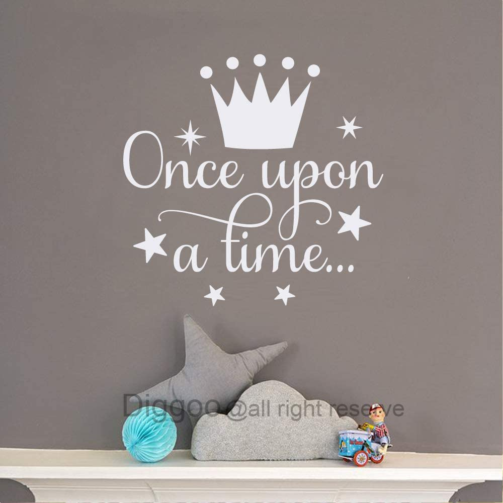 """Diggoo Once Upon A Time Wall Decal Fairytale Decal Princess Crown Decor Girls Bedroom Decor Kids Room Quotes (White,14"""" h x 14.5"""" w)"""
