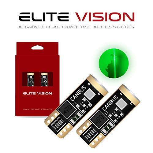 Elite Vision 194 168 T10 192 2825 W5W Titanium Series LED Non-Polarity 400LM Bright Green for Dome Map Courtesy Door License Plate Cargo Interior Lights (Pack of 2) ()
