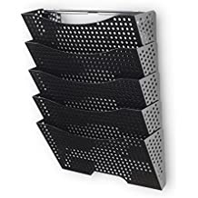 Wall Mount File Organizer  - Sturdy Modular Design with 5 Storage Folders - the Easy Way to Sort and Organize all Your Papers Black