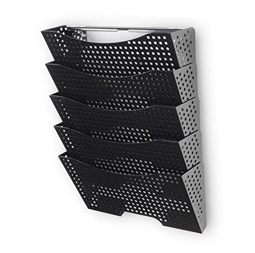Wallniture Lisbon Hanging Metal Wall File Holder - Letter Size Organizer Modern Modular Design Storage Folders Durable Construction (5 (Order Magazine)