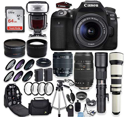 Canon EOS 90D DSLR Camera + Canon EF-S 18-55mm + Tamron 70-300mm Lens + 500mm & 650-1300mm Telephoto Preset Lens + Wide Angle & Telephoto Lens + Macro Filter Kit + 64GB Memory Card + Accessory Bundle