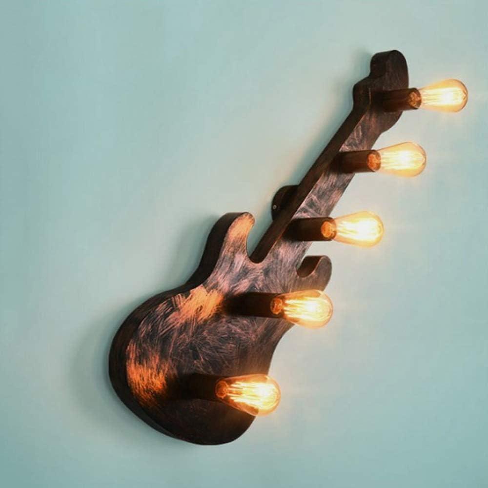 Sprsk American Retro Creative L/ámpara de pared de hierro forjado E27 Multi-lights Red Rust Guitarra L/ámpara de pared Corredor /Ático Escalera L/ámpara de pared decorativa Sala de estar L/ámpara de cabece