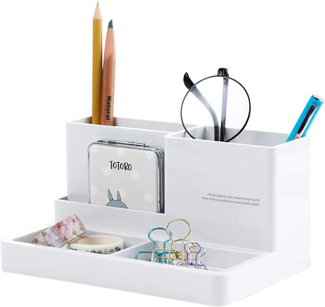 """Citmage Desk Organizer Caddy with 5 Compartments Office Workspace Desktop Holder Plastic Stationery Storage Box for Pencils,Markers,Erasers,Pens (7.1"""" x4.8"""" x3.6"""")(Ivory White)"""