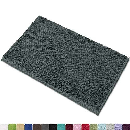 """MAYSHINE Chenille Bath Mat for Bathroom Rugs 32"""" x20"""", Extra Soft and Absorbent Microfiber Shag Rug, Machine Wash Dry- Perfect Plush Carpet Mats for Tub, Shower, and Room- Gray"""