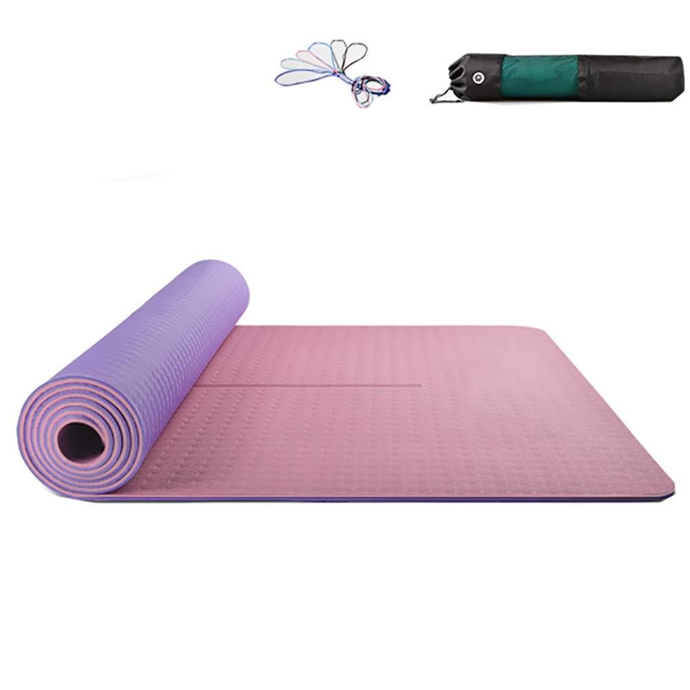 ヨガマット 滑り止めヨガマット、女性フィットネスTPE素材のホーム瞑想マット、デュアルカラーデザイン、183 cm x 66 Cm 6 Mm (色 : ピンク)  ピンク B07PYRR2XR
