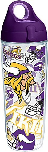 Tervis 1248095 NFL Minnesota Vikings All Over Tumbler with Wrap and Purple Lid 24oz Water Bottle, Clear