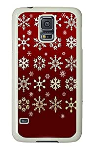 Samsung Galaxy S5 Golden Snowflakes Red Background289 PC Custom Samsung Galaxy S5 Case Cover White