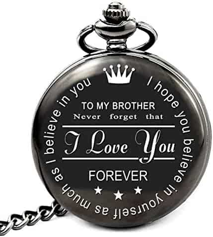 Brother Birthday Gifts from Sister or Brother, to My Brother Pocket Watch, Brother Gifts Ideas for Christmas Graduation (to Brother Roman)