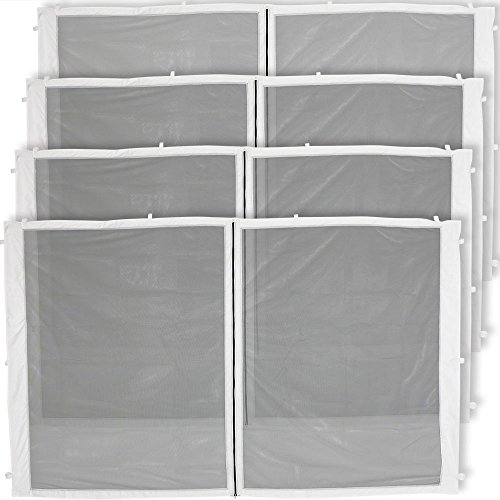 Sunnydaze Zippered Mesh Sidewall Kit for 12x12 Straight-Leg Canopy Tent, 4-Panels All Zippered Entries