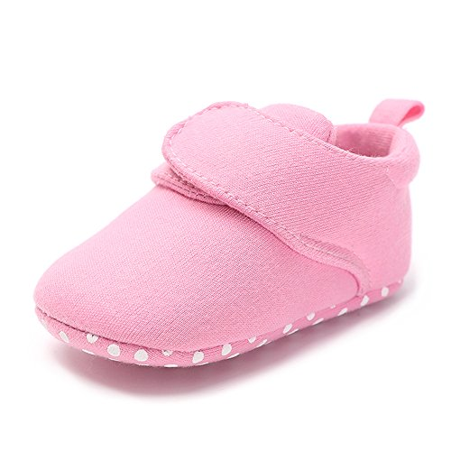 QGAKAGO Baby Girls Or Boys Fleece Booties - Cotton Lining and Soft Sole Shoes (L: 5.12 inch(12~18 Months), A-Pink)