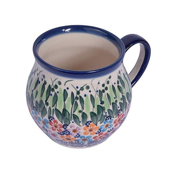 Traditional Polish Pottery, Handcrafted Ceramic Bubble Mug (350ml), Boleslawiec Style Pattern, Q.502.Daisy