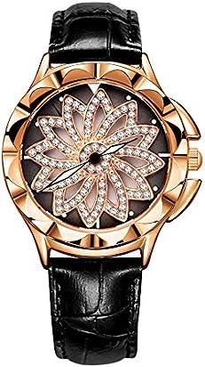 Rhinestone Waterproof Lady Quartz Watch Fashion Leather Women Watches Casual Ellipse Rose Gold Wrist Watch(SL-Black)