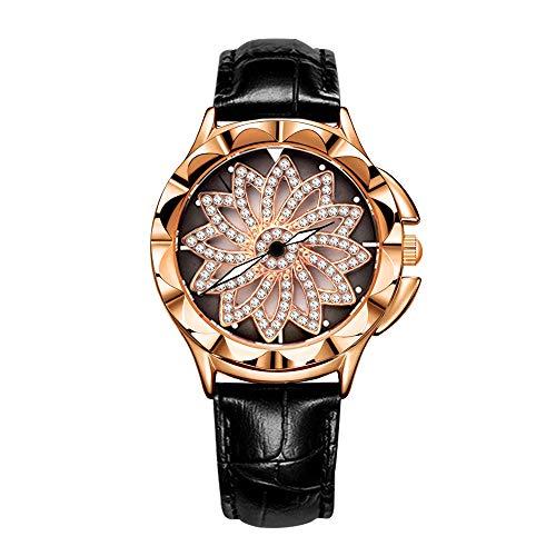 Fashion Women's Watch Fortunes Personality Women Wrist Watches Belt Turntable Waterproof Watch (Black) by AOSCWALD