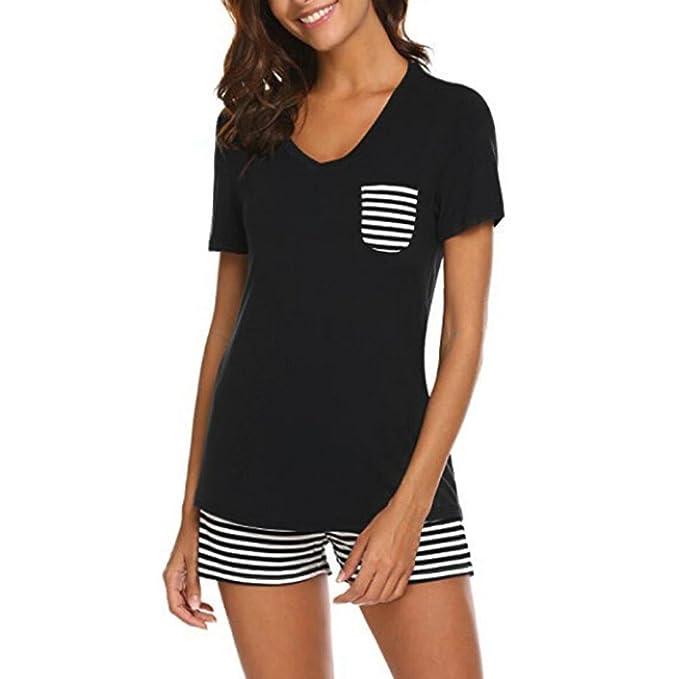 QinMM Pijama de Rayas para Mujer 2 Piezas, Ropa de Dormir Camiseta + Shorts (