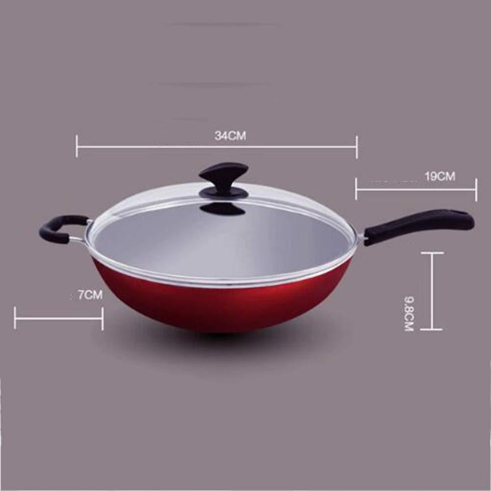 ウォックノンスティックパン無煙ポットパンスープポットフライパン - 直径34cm未満の油煙炊飯器蓋付きユニバーサルノンスティックポット JNRONG (Color : Red, Size : 34cm in diameter) 34cm in diameter Red B07SLY382X