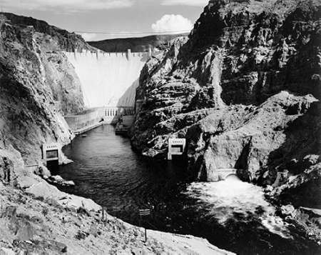 Posterazzi GLP469052LARGE Poster Print Collection Hoover Dam From Across The Colorado River - National Parks And Monuments 1941 Poster Print By Ansel Adams, (11 X 14), Multicolored