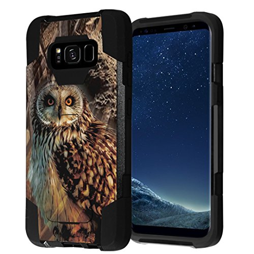 Galaxy S8 Case, Capsule-Case Hybrid Fusion Dual Layer Shockproof Combat Kickstand Case (Black) for Samsung Galaxy S8 SM-G950 SPHG950 - (Owl Hunter)